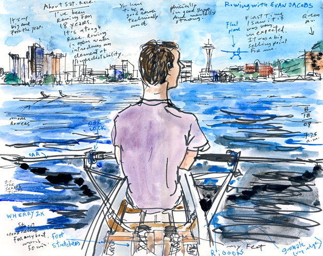 Rowing on Lake Union by Seattle artist Gabriel Campanario
