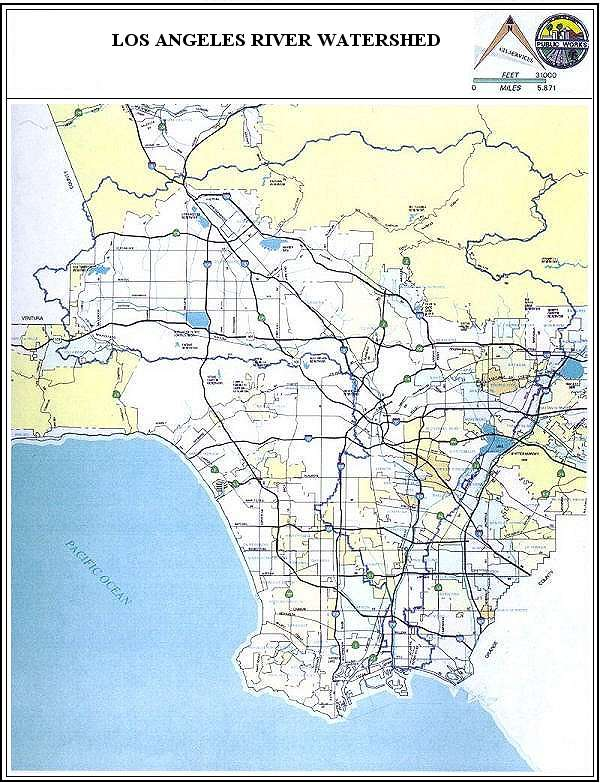 Los Angeles River Watershed Map. Source: Los Angeles County Watershed Management