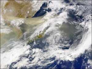 Dust storm of Beijing. Source: NASA. Click on the image to be taken to the Earth Observatory