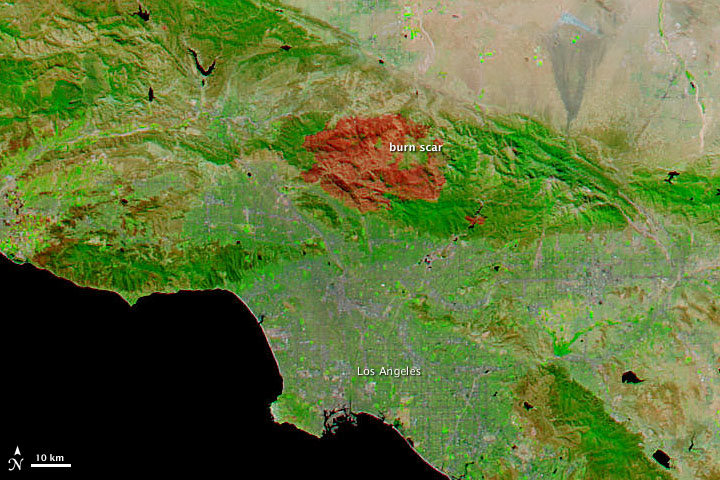 Station Fire, Los Angeles, September 16, 2009. Source: NASA's Earth Observatory