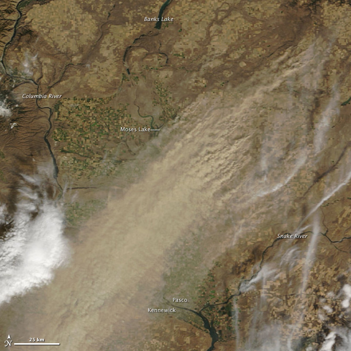 Dust storms over Eastern Washington October 4, 2009. Source: NASA