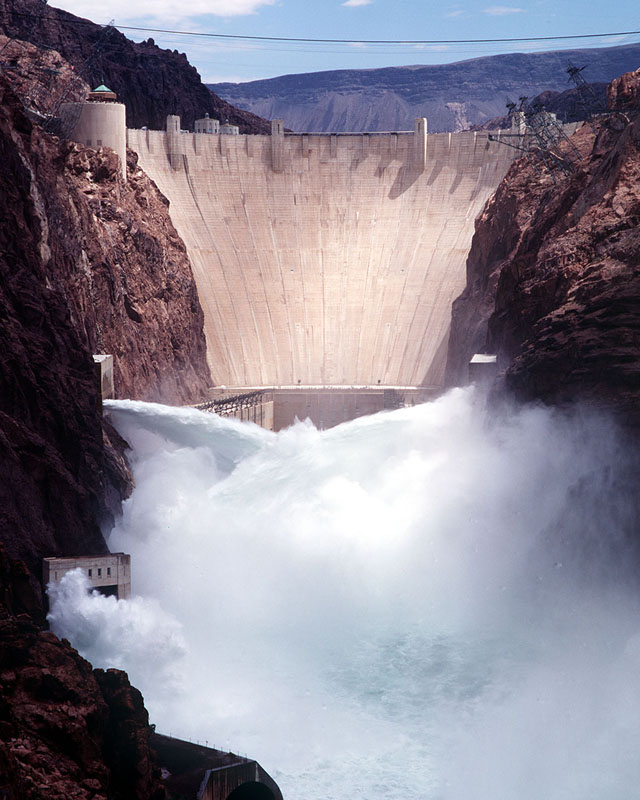Hoover Dam, Water flowing from the Arizona and Nevada spillways. Photo: Bureau of Reclamation