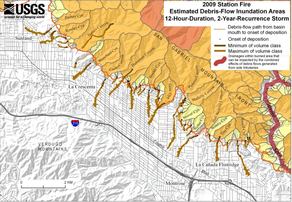 "Figure 7B from the USGS report ""Emergency Assessment of Postfire Debris-Flow Hazards  for the 2009 Station Fire, San Gabriel Mountains, Southern  California""  The image shows the area that may be inundated by debris-flow deposits with the estimated volume class range for each basin when all sediment-retention basins are full in response to the 12-hour-duration, 2-year-recurrence storm."