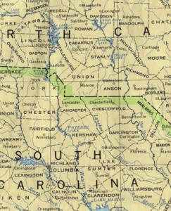 Map detail showing the trans-border flow of the Catawba River. Source: University of Texas