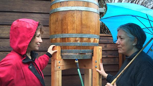 KCET's Val Zavala interviews Altadena gardener Emily Green (right) on the efficacy of rain barrels in Southern California. Photo: KCET/Twitter