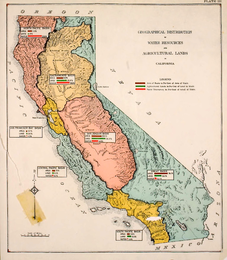 "When KCET came to me with a project funded by the Rose Foundation to ""explain the Delta"" to Southern Californian's, the easiest explanation was, ""You're drinking it."" The first in a multi-part new series for KCET shows how California set out to spread water from places that had it to places that didn't. This 1930 map from the California State Water Plan shows how engineers were eyeing Delta water for the San Joaquin Valley in the run-up to the construction of the federal aqueduct system known as the Central Valley Project."
