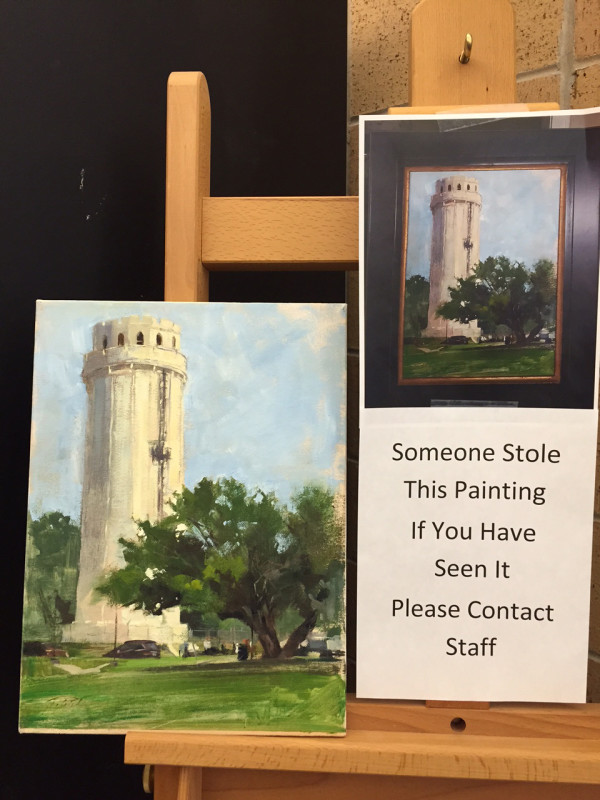 A stolen painting of the Waldo Water Tower was returned to the Waldo Branch of the Kansas City Library with a remorseful note. Click on the image for more from Artnet news.