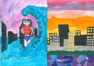 Two finalists of the water superhero contest Second and third place winners are Yramiz Gonzalez, a 5th grade student C.A. Frost Environmental Science Academy and Claire VanZelst, a 6th grade student at Northern Trails 5/6.