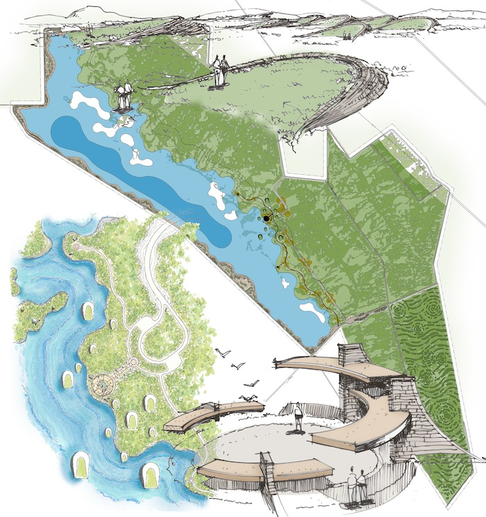 Owens Lake land art project conceptual drawing by NUVIS landscape architects for the Los Angeles Department of Water & Power Owens Lake MasterProject.