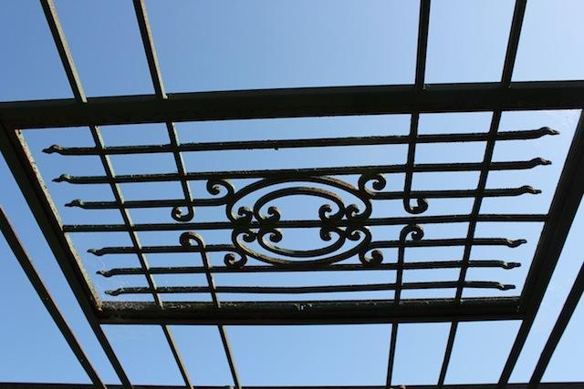 garden gate as gazebo roof