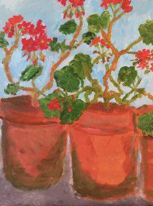 Geraniums. Acrylic on board. Emily Green